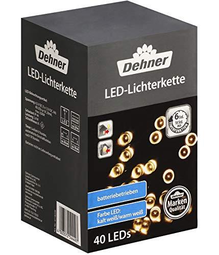 Dehner Lichterkette LED, Länge 390 cm, kaltweiß/warmweiß, wetterfest, Kunststoff, schwarz