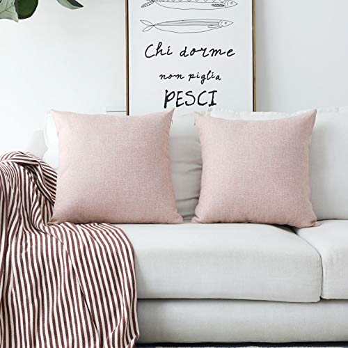Home Brilliant 2 Pack Throw Pillow Covers 16x16 Linen Decorative Pillows Cover for Couch, 40cm x 40cm, Baby Pink