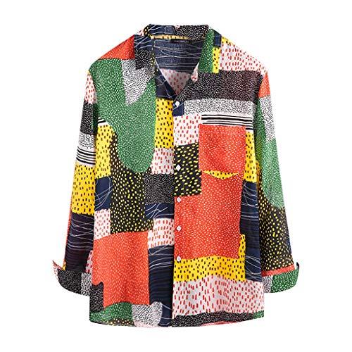 CAOQAO Hombre Camisas Manga Larga Flores Multicolor tnica Blusa cmoda de Gran tamao