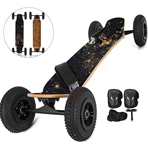 Happybuy Mountainboard, 37''L Cross Country Skateboard, All Terrain Longboard with 95A Shock Absorber, Mountain Skateboard with Bindings, 8-layer Canada Maple Offroad Skateboard, for Cruising Downhill