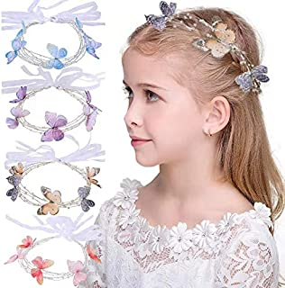 Butterfly Headband for Girls – Beaded Hair Vine, Bridal Head Piece, Best for School girls Costume – Butterfly Hair Accessories (coffee)