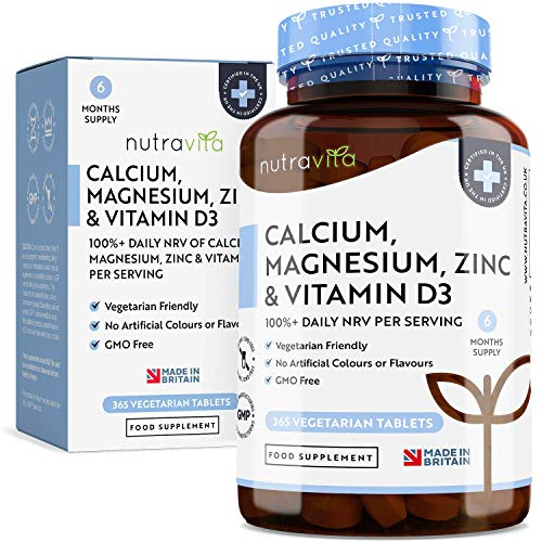 Calcio magnesio, zinco e vitamina D3-365 Compresse vegetariane - Integratore di calcio ad alto dosaggio - Fornitura per 6 mesi di integratore osseo vegetariano - Prodotto nel Regno Unito da Nutravita