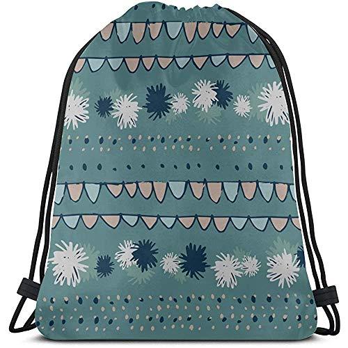 Blauwe romantische retro-bloemen-anjer-string-rugzak voor jongens polyester trekkoord-portemonnee voor sportreizen
