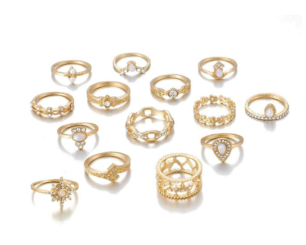 Cathercing 14 Pcs Women Rings Set Knuckle Rings Bohemian Rings for Girls Vintage Gem Crystal Rings Joint Knot Ring Sets for Teens Party Daily Fesvital Jewelry Gift