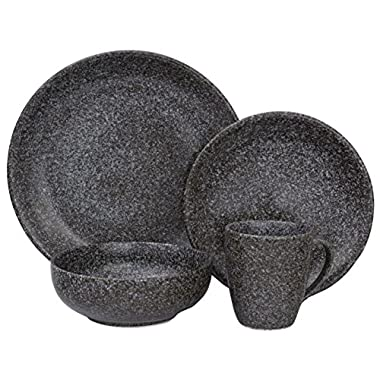 Sango 3598BK800ACM24 Olympus 16-Piece Stoneware Dinnerware Set, Black