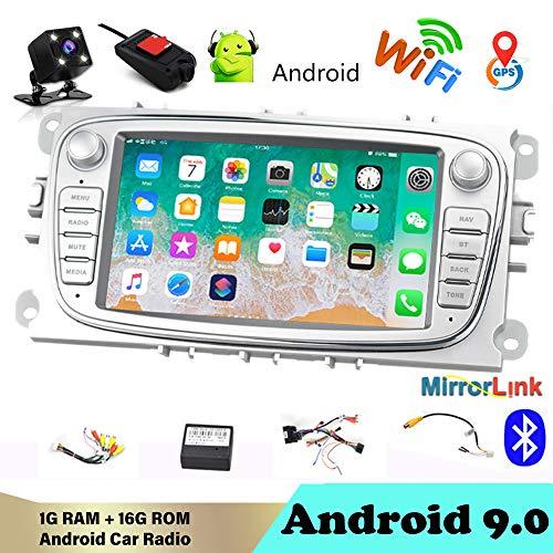 Autoradio Bluetooth 2 DIN 7'Android 9.0 Reproductor Multimedia de automóvil WiFi Navegación GPS Autoradio para Fo/rd/Focus/S-MAX/Mondeo 9 / GalaxyC-MAX con cámara de visión Trasera y DVR Plata