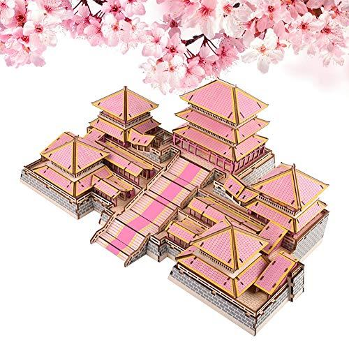 Zerodis Rompecabezas de la casa China de Madera, Kit de construcción de artesanía en Madera 3D DIY Rompecabezas ensamblado de Madera Educativo Juguete Inteligente para niños