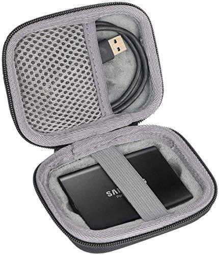 para Samsung T3 T5 Disco SSD portatíl Portable External Solid State Drive 250GB 500GB 1TB 2TB Hard Shockproof Almacenamiento Viajar Que Lleva Caja Bolsa Fundas por co2CREA (Negro)
