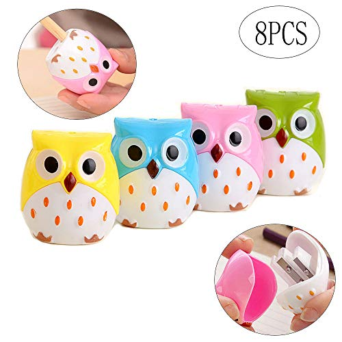 BinaryABC Back to Shcool Supplies,Owl Pencil Sharpener Cutter Knife Learning Stationery,Two Holes,8Pcs(Random Color)