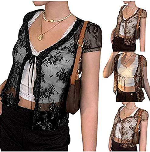 Womens Sexy Mesh See Through Crop Cardigan Top Y2k Lace, Round Neck Short Sleeve Fashion Printed Slim T-shirt, Short Sleeve Floral See Through Mesh Crop Tshirts Tops (Black, M)
