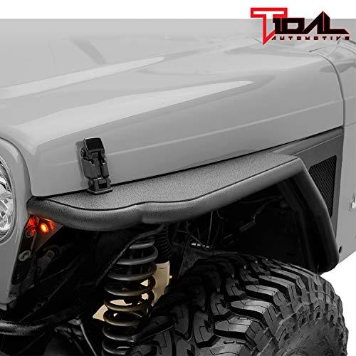 Tidal Steel Tube Front 3 inch Fender Flare with LED Light Rocker Guard Fit for 97-06 Wrangler TJ