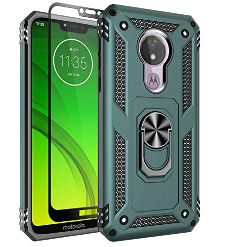 Sunbrightful for Motorola Moto G7 Power Case, Moto G7 Supra Case, Military Grade Drop Protection Defender Kickstand Case with Tempered Glass Screen Protector for Moto G7 Power - Green