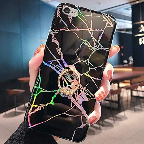Uposao Kompatibel mit iPhone 6S 4.7 Hülle Glitzer Marmor Silikon Handyhülle Strass Diamant Handy Ring Ständer Halter Schutzhülle Glänzend Bling Silikon TPU Case Handytasche,Schwarz