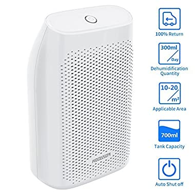 HODGSON Auto Small Dehumidifier for 200 Sq Ft 700ML Tank Portable Large Capacity Ultra Quiet Thermo-Electric Mini Dehumidifiers for Home Basements Bathroom Bedroom Garage Closet Wardrobe, White by