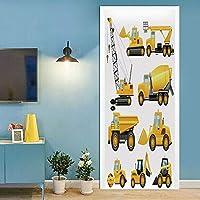 3Dドアステッカー インテリア 77x200cm エンジニアリングビークル 壁壁画リビングルームの寝室のドア壁紙ウォールステッカーPVC自己接着防水装飾 ドアポスター 壁紙 DIY 飾り はがせる シール