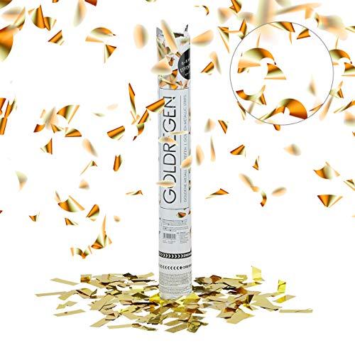 Relaxdays 10020853 Lanceur de confettis canon cotillons doré or 40 cm décoration mariage anniversaire fête portée 5 x 5 x 40 cm, doré