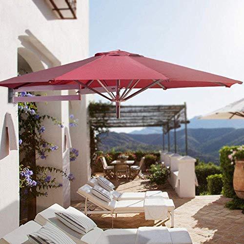 220 cm d'extérieur mural Parasol, Patio Balcon Auvent, vacances Jardin cantilever et Umbrella CANNE Inclinable en métal, for la plage Piscine Terrasse (Color : Red)