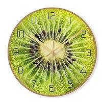 掛け時計 壁掛け時計サイレントノンチックバッテリー駆動フルーツの表面装飾リビングルームの寝室のキッチン超薄型クリエイティブデザイン時計 置時計 (Color : B)