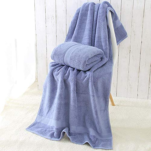 YEZINB 1PC 80 * 160cm 900g Toalla de baño de algodón Egipcio de Espesor Grueso Toalla de Playa ecológica dePlaya para Adultos, Azul