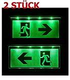 Lot de 2Lampe d'urgence Éclairage d'urgence Exit sortie de secours fuite Lampadaire Lumière d'urgence fuite voie Flèche vers la gauche/droite