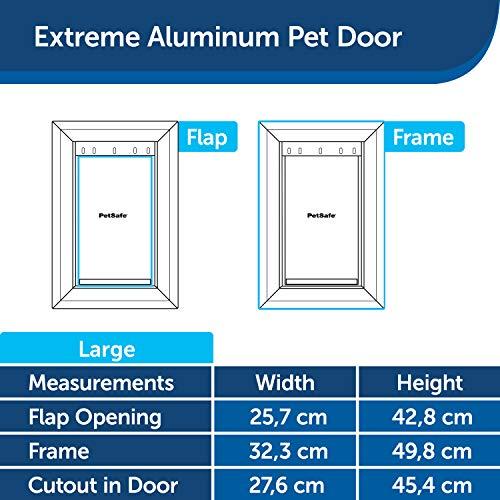 PetSafe Extreme Weather Dog and Cat Door - Aluminum Frame Pet Door - Large