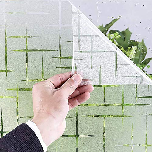 Milchglasfolie Fensterfolie Milchglas Duschkabinen Blickdicht Folie Fenster Selbstklebend Sichtschutzfolie Sichtschutz Statisch Haftend für Glastüren Bad Badfenster Sterne Kreuz (44.5 x 200 cm)