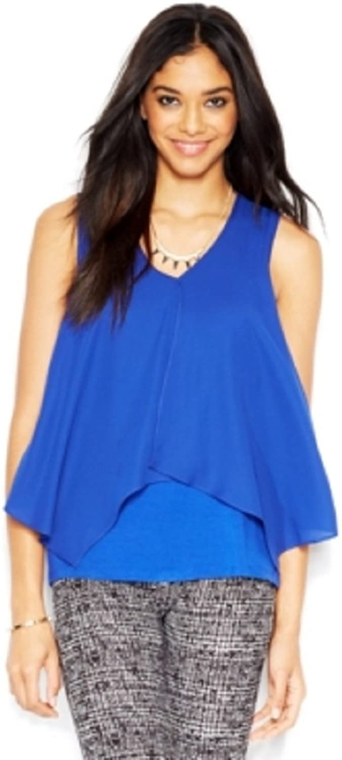 Bar III Womens Flyaway Sleeveless Blouse bluee M
