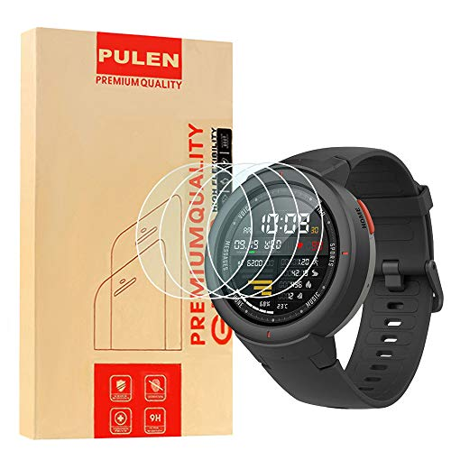 [4-Pack] PULEN for Amazfit Verge Screen Protector,HD No Bubble Anti-Scratch Anti-Fingerprint Tempered Glass for Amazfit Verge Smartwatch