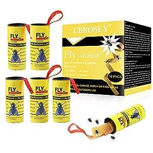 CBROSEY Atrapa Moscas,Trampa Moscas,Caza Moscas,Adhesivo Atrapa Insectos 16 Rollos Atrapa Moscas para Colgar para Insectos Voladores de Interior y Exterior