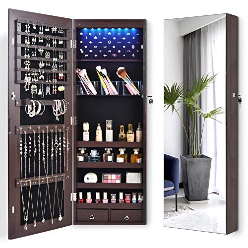 LVSOMT 8 LEDs Jewelry Organizer Cabinet WallDoor Mounted Jewelry Armoire Full-Length Body Mirror Lockable Storage Cabinet with 2 Drawers 4 Shelves Large Capacity 145W x 425H Brown