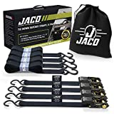 JACO Ratchet Tie Down Straps (4 Pack) - 1 in x 15 ft | AAR Certified Break Strength (1,823 lbs) | Cargo Tie Down Set with (4) Utility Ratchet Straps, (4) Bundling Straps, and Accessories (Black) luggage sets Dec, 2020
