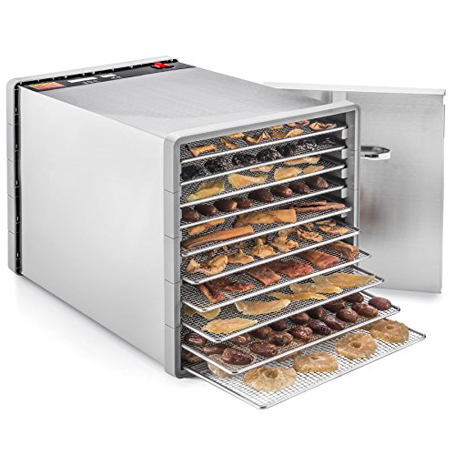 STX International STX-DEH-600W-SST-CB Stainless Steel Dehydra 10 Tray Food and Jerky Dehydrator with 40 Hour Timer PLUS a FREE All New 'Dehydrating Made Easy' Cookbook on CD with over 270 Recipes!