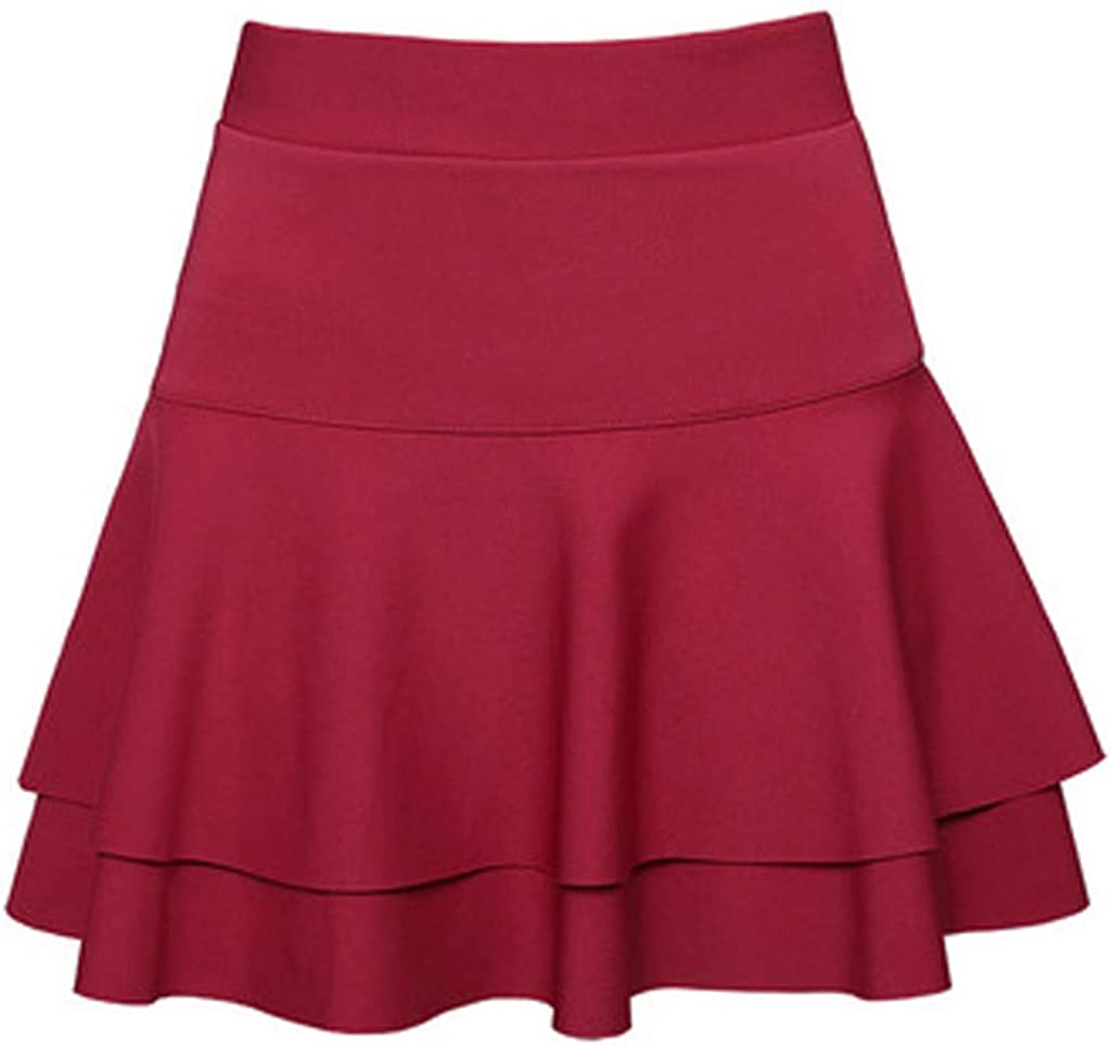 IXnzadn Women Solid Double-Layer Base S Skirt Elastic Waist High Max Directly managed store 58% OFF