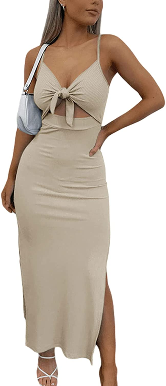 Women Spaghetti Strap Cutout Maxi Dress Apricot Brown Y2k Knitted Twist Halter Dress Party Club Night Out Split Dresses