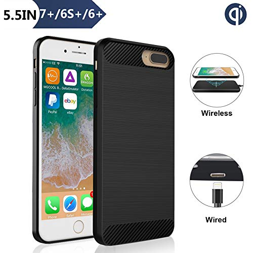 Wireless Charging Receiver Case for iPhone 7 Plus 6S Plus 6 Plus(Not Battery), ANGELIOX Qi Wireless Charging Enabling [3rd Generation] Shockproof Protective Back Cover-5.5in Black
