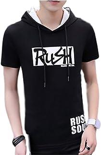 [アンリ] 半袖 パーカー フード付き Tシャツ 白 黒 トップス でかプリント カジュアル ストリート M ~ 3XL メンズ