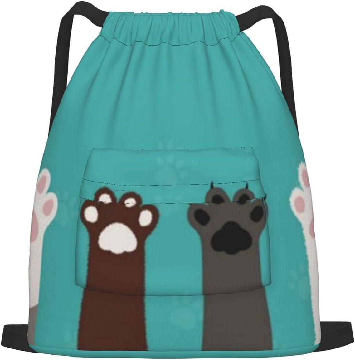 Cat Arlington Mall Paws Drawstring Sports Backpack Outstanding Drawstr Yoga Gym Bag