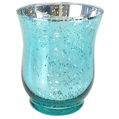 Just Artifacts Mercury Glass Hurricane Votive Candle Holder 3.5-Inch (1pc, Speckled Aqua) - Mercury Glass Votive Tealight Candle Holders for Weddings, Parties and Home Décor