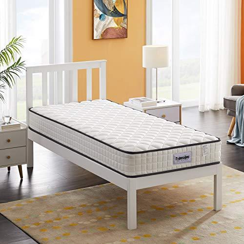 Tribesigns Colchón de 8 zonas con núcleo de muelles 90 x 190 cm - colchón de invitados 20 cm H2, blanco + negro