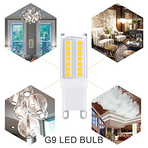 JandCase G9 LED Light Bulbs, 5W (40W Halogen Equivalent), 400LM, Daylight White (6000K), G9 Base, Not Dimmable, G9 Daylight White Bulbs for Home Lighting (Pack of 5)