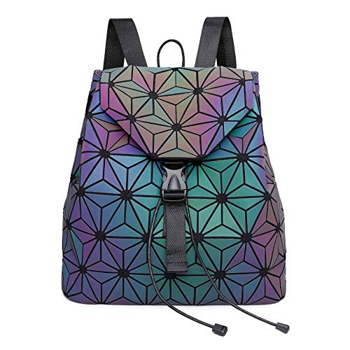 Geometric Luminous Bag for Women Holographic Reflective Crossbody Bags Backpack Wallet Clutch Set - - One Size