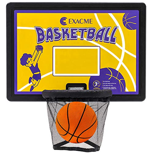 """Exacme Trampoline Basketball Hoop and Ball for Kids, 31.9"""" x 22.8"""" Rectangle Backboard, Attachment for Straight Net Pole Yellow BH07-YE"""