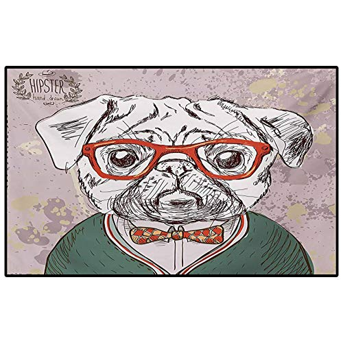 Dog Patio Rugs Kitchen Rugs Non Skid Vintage Illustration of Old Hipster Pug Dog with Red Glasses and Bow Master of Professor Desk Chair mat for Carpet Multi 6.5 x 9.8 Ft