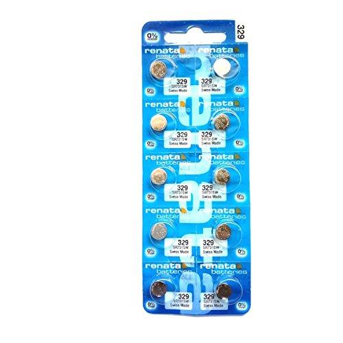 Renata 329 Knopfzellen-Batterie für Armbanduhren, 10Stück