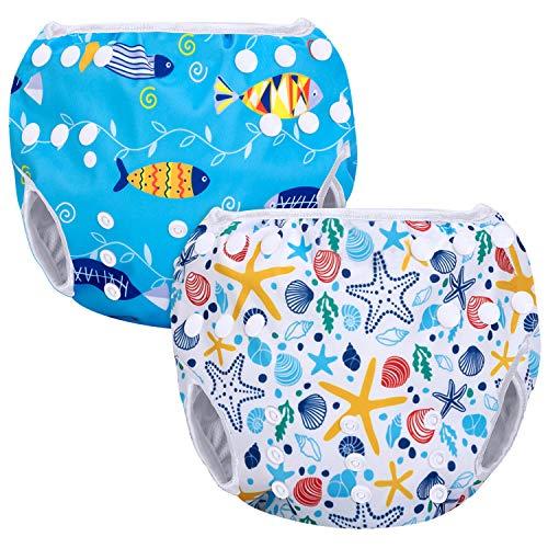 Luxja Pañal de Natación para bebes Bañador Reutilizable de Nadar de Bebé Pañal lavable para Bebé (0-3 años), Shell + pescado azul