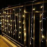 Cortina solar de luces de carámbano, 2 m x 2 m, 200 LED, 8 modos, funciona con...
