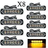 Riloer Luci stroboscopiche di emergenza per camion, 8 luci lampeggianti a LED color ambra, 12 / 24V lampade per segnalatori di pericolo per auto, rimorchi, roulotte, camper, furgoni