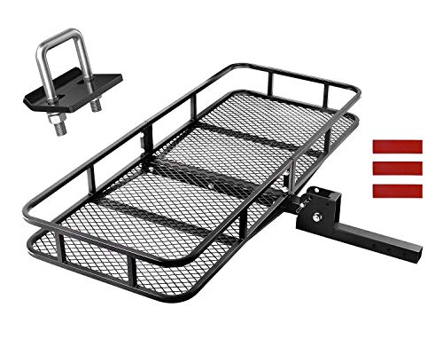 CAR DRESS Hitch Cargo Carrier 47.5'(L) x 60'(W) x 9'(H) Luggage Rack 500 lbs Capacity Fits 2' Receiver with Hitch Tightener Black