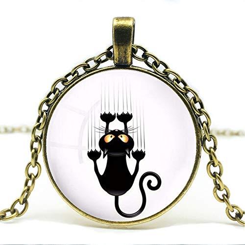 CLEARNICE Collar de Hombre Moda Retro Arte Vidrio Cristal Cabochon Collar Collar Shabby Chic Gato Redondo Colgante Niña Collar De Vidrio