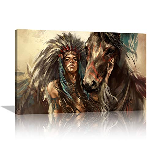 KALAWA Native American Decor Wall Art Feathered Headdress Women Western Decor with Horse Painting pictures Home Decor Indian Girl Artwork for Bedroom Living Room Ready to Hang 16x24inch